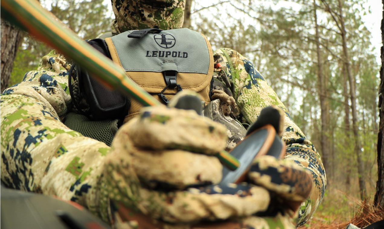 turkey hunter using slate call